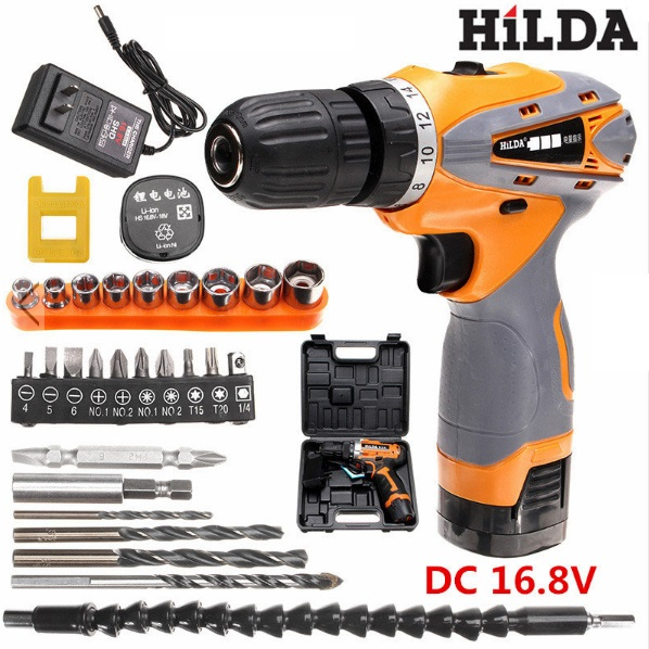 Hilda Electric Power Drill DC 16.8V Cordless Lithium Battery